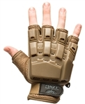 48726 V-Tac Half Finger Polymer Armored Tactical Gloves Tan Small X-Small