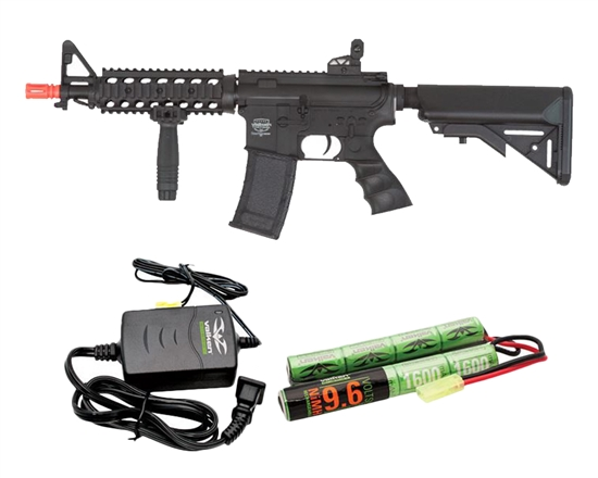 Valken Battle Machine CQB AEG Airsoft Rifle Combo Kit - Black