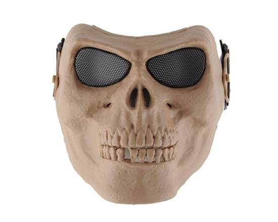 Skull Mask w/ Mesh Eye Covers - Tan