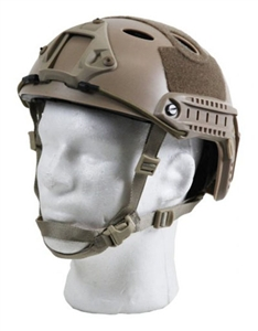 Bravo Pararescue Jumper Helmet Replica Airsoft Head Gear w/ Rail and NVG Mounts ( Tan )