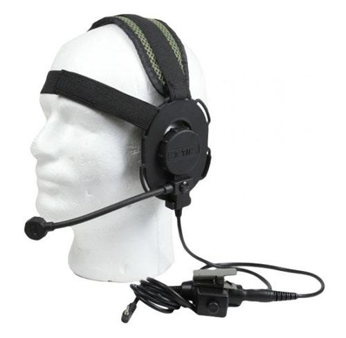 Bravo Bowman Style Headset W   Ptt For 1 Pin Motorola    Frs