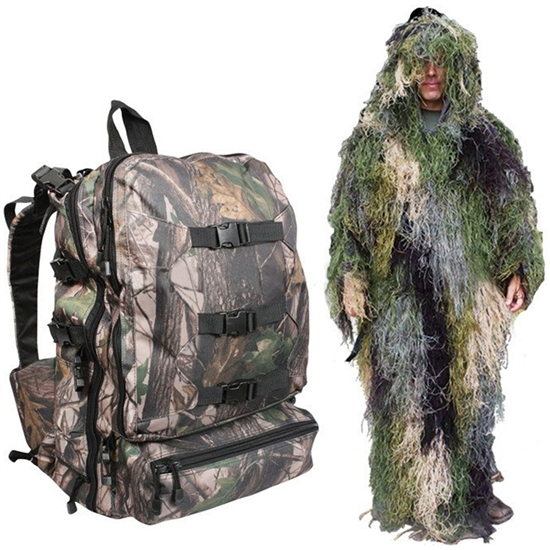 Bushrag Tactical Airsoft Ghillie Pack & 4-in-1 Suit - Woodland