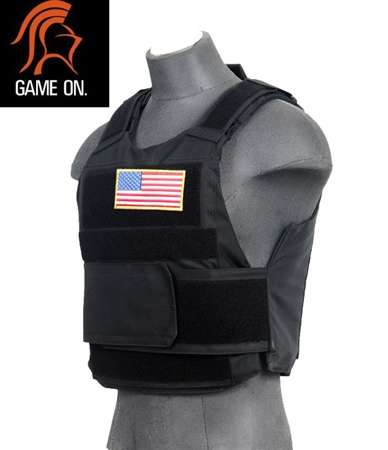 Lancer Tactical Body Armor Airsoft Velcro Vest w/ Plates ( Black )