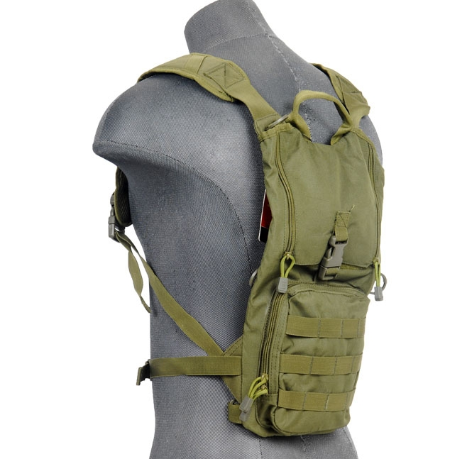 Lancer Tactical Hydration Pack w/ MOLLE Webbing & Pouches OD Green
