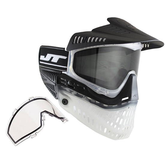 JT Tactical ProFlex Full Face Airsoft Mask w/ Thermal Lens - Black/Clear/Black