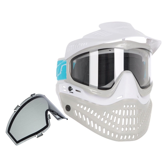JT Tactical ProFlex Full Face Airsoft Mask w/ Thermal Lens - White/Grey
