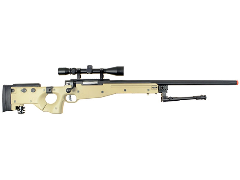 WELL MB08 TYPE 96 AWP Airsoft Bolt Action Sniper Rifle w/ Adjustable Folding Stock, Scope ...