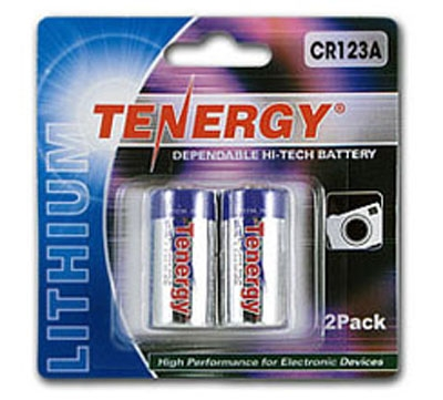 Tenergy CR123A Non-Rechargable Battery for Flashlights and Lasers ( 2 Pack )