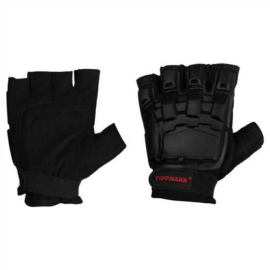 Tippmann Armored Half Finger Tactical Airsoft Gloves - Black