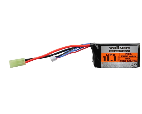 Valken 11.1v 1300mAh PEQ-15 LiPo Airsoft Battery (62944)