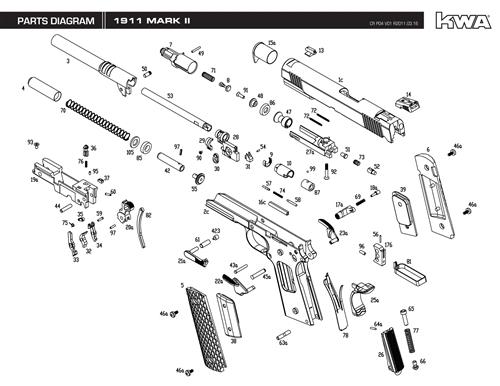 kwa full metal 1911 mark ii ptp airsoft gun blowback gas pistol rh airrattle com 1911 Parts Diagram 1911 Parts Diagram