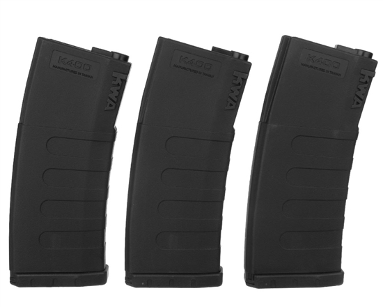 KWA M4 / M16 Airsoft K400 High Cap Rifle Magazine - 3 Pack