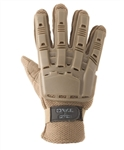 48627 V-Tac Full Finger Polymer Armored Tactical Gloves Tan Small