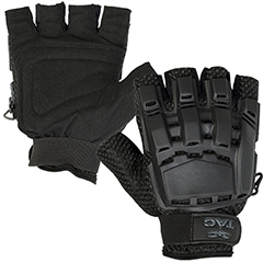 48641 V-Tac Half Finger Polymer Armored Tactical Gloves Black Medium Large