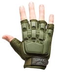 48696 V-Tac Half Finger Polymer Armored Tactical Gloves OD Green Small X-Small