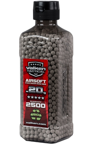 Valken Tactical Biodegradable .20g 6mm Precision Seamless BIO Airsoft BBs (2500)