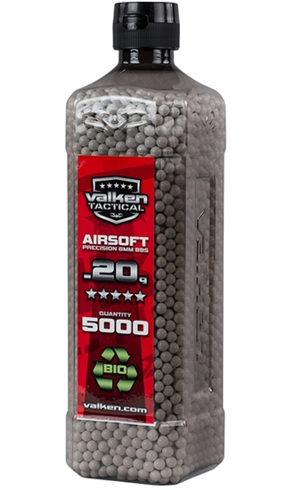 Valken Tactical Biodegradable .20g 6mm Precision Seamless BIO Airsoft BBs (5000)