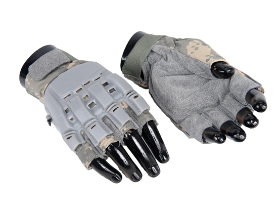 AC-225-XL Lancer Tactical Armored Half Finger Airsoft Gloves w/ Plated Protection ACU Camo X-Large
