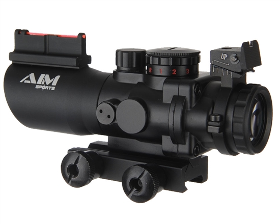 Aim Sports Rifle Scope - Recon Tactical Series - 4X32mm w/ Tri-Illumination w/ Fiber Optic (JTSFO432G-N)
