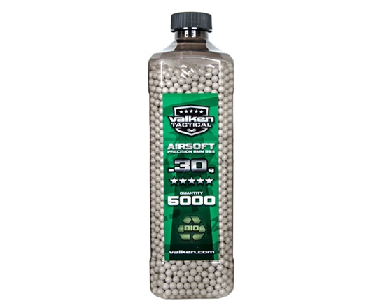 Valken Tactical Biodegradable .30g 6mm Precision Seamless BIO Airsoft BBs (5000)