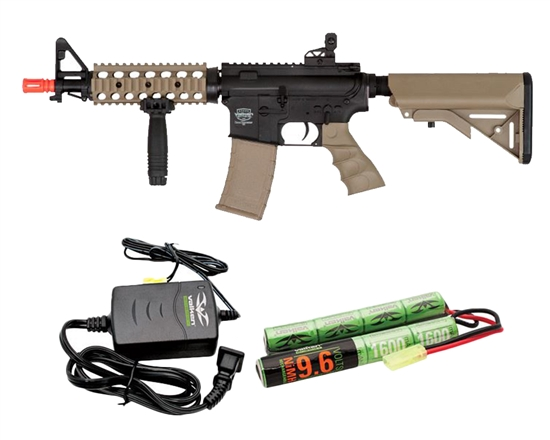 Valken Battle Machine CQB AEG Airsoft Rifle Combo Kit - Black/DST