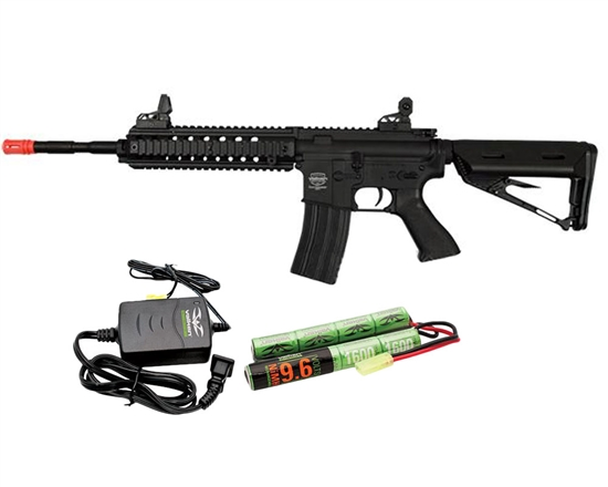 Valken Battle Machine Mod-M AEG Airsoft Rifle Combo Kit - Black