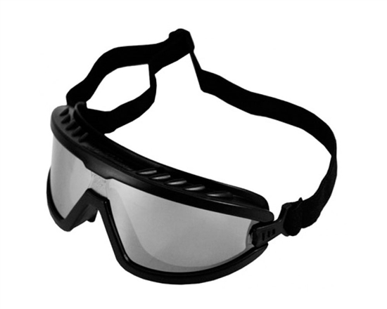 Safety Goggles - Black w/ Silver Mirrored Lens