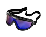 Safety Goggles - Black w/ Blue Mirrored Lens