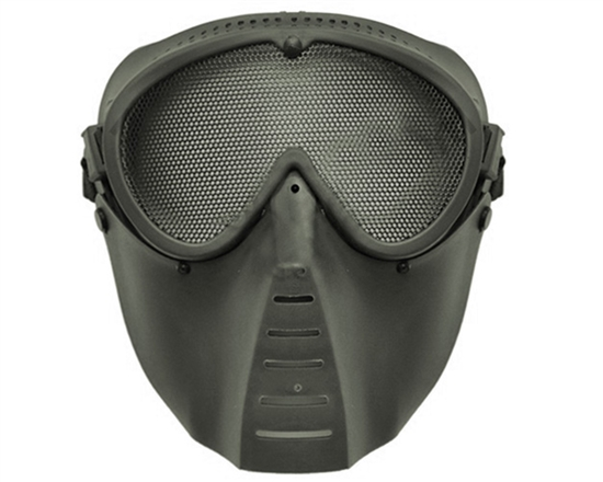 Rubber Sniper Mask w/ Mesh Eye Guard - Black