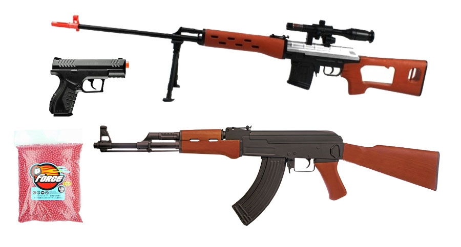 AirRattle Backyard Package - Kalashnikov AK-47 AEG, Combat Zone Compact CO2  Pistol & SVD Spring Airsoft Sniper