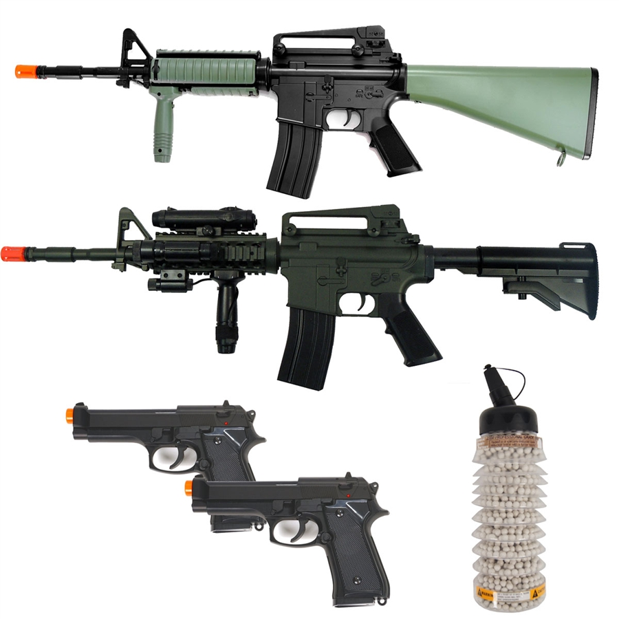 AirRattle Buddy Package - DBoys AEG M4 RIS, DBoys AEG M16A2 RIS, ( 2 ) HFC  M9 Spring Pistols
