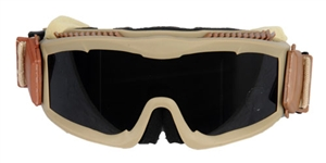 Lancer Tactical Deluxe Ventilated Airsoft Safety Goggles w/ 3 Color Interchangeable Lens ( Tan )