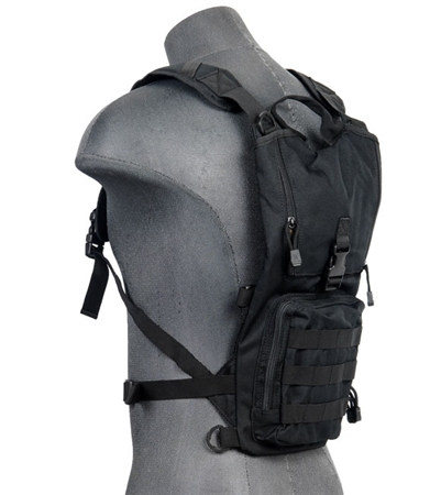 Lancer Tactical Hydration Pack w/ MOLLE Webbing, Acess Panel, & Utility Pouch ( Black )