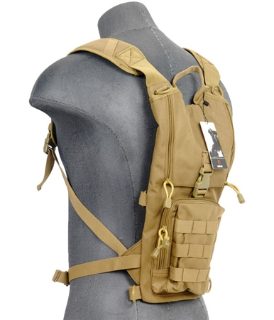 Lancer Tactical Hydration Pack w/ MOLLE Webbing, Acess Panel, & Utility Pouch ( Tan )