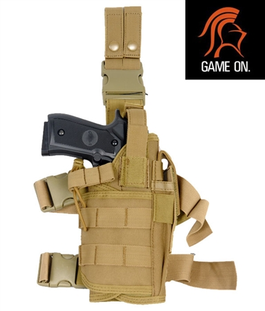 Lancer Tactical Tornado Drop Leg M to L Airsoft Pistols Holster ( Tan )