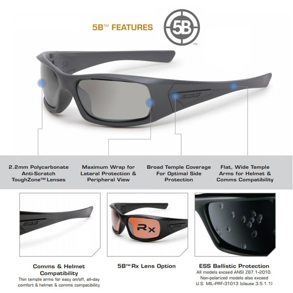 696e2406dfdb EE9006-06 ESS 5B Ballistic Sunglasses ( Matte Black Frame / Smoke ...