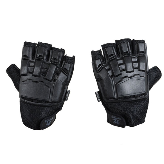 Empire Battle Tested Hard Back Fingerless Tactical Airsoft Gloves - Black