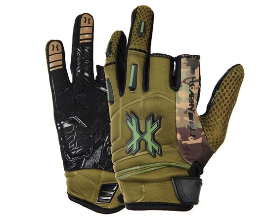 HK Army Two-Finger Hardline Tactical Airsoft Gloves - Olive Camo