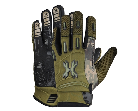 HK Army Full Finger Hardline Tactical Airsoft Gloves - Olive HSTL Camo