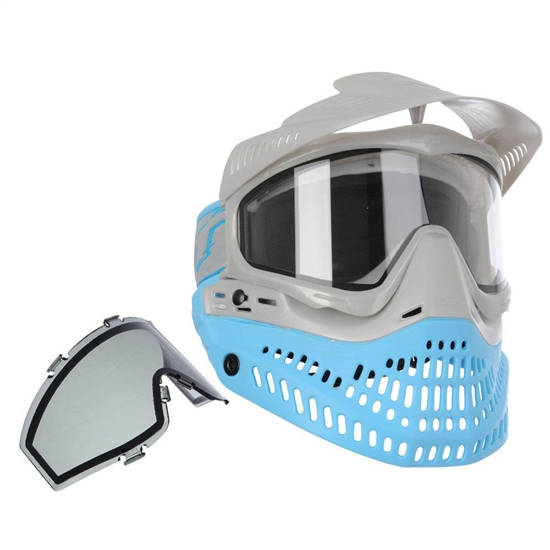 JT Tactical ProFlex Full Face Airsoft Mask w/ Thermal Lens - Blue/Silver