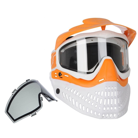JT Tactical ProFlex Full Face Airsoft Mask w/ Thermal Lens - Orange/White