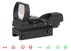 Aim Sports WARFARE Edition Tactical Red / Green Dot Panoramic Airsoft Gun Sight w/ 4 Reticles