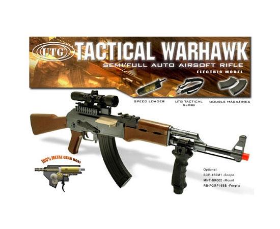 UTG AK47 Tactical WarHawk Electric Airsoft Metal AEG Gun w/ Wood Furniture