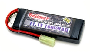 31270 Tenergy 11.1V 1600mAh 20c LiPo Brick Airsoft Battery