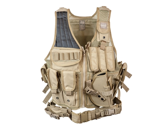 Valken Tactical Crossdraw Airsoft Vest (Adult) - Tan