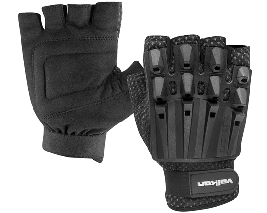 Valken Alpha Half Finger Polymer Armored Tactical Gloves - Black