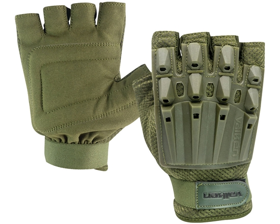 Valken Alpha Half Finger Polymer Armored Tactical Gloves - Olive