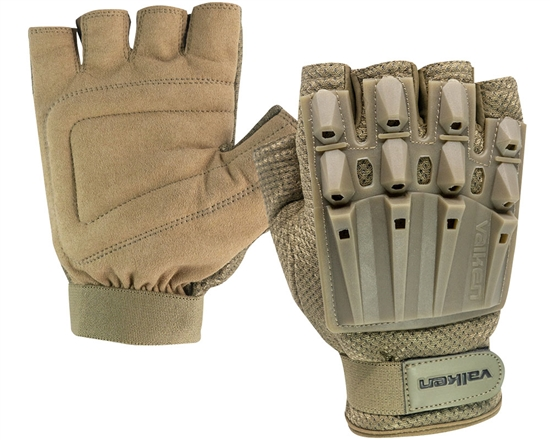 Valken Alpha Half Finger Polymer Armored Tactical Gloves - Tan