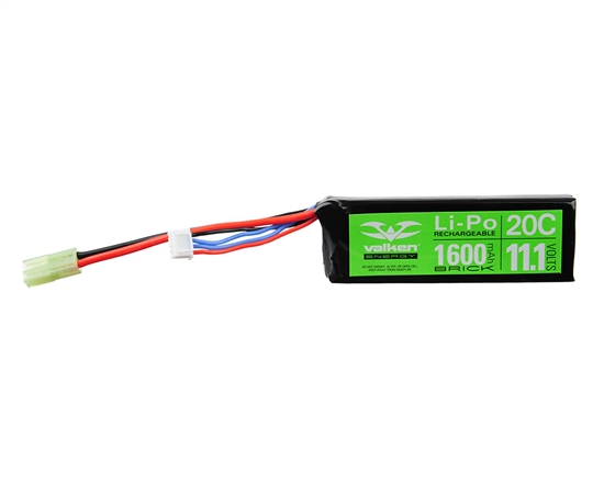 Valken 11.1v 1600mAh 20C Mini Brick LiPo Airsoft Battery (48214)