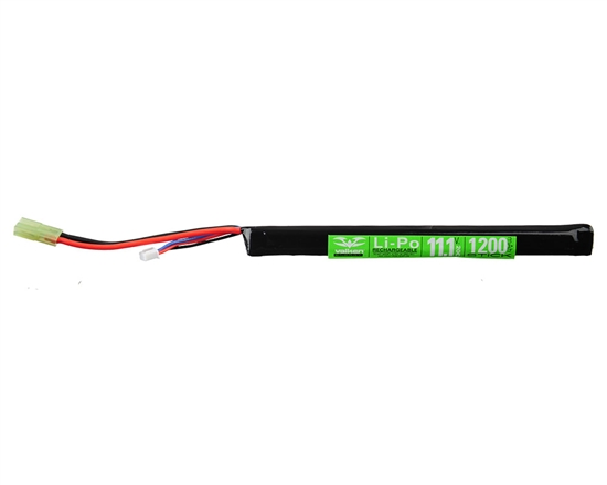 Valken 11.1v 1200mAh 20C Long Stick LiPo Airsoft Battery - 1 Stick (62937)